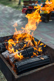 Barbecue grill flame, hot burning grill, outdoors. Royalty Free Stock Photos