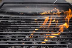 Barbecue grill grate. BBQ, fire, charcoal royalty free stock photo