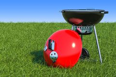 Barbecue grill on the green grass against blue sky, 3d rendering. Barbecue grill on the green grass against blue sky, 3d Stock Photography