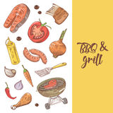 Barbecue and Grill Hand Drawn Background with Meat, Sausage and Vegetables. Picnic Party Royalty Free Stock Photos