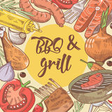 Barbecue and Grill Hand Drawn Background with Steak, Fish and Vegetables. Picnic Party. Vector illustration Stock Photo