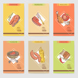 Barbecue and Grill Hand Drawn Cards Brochure Menu with Meat, Steak and Vegetables. Food and Drink Stock Images