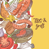 Barbecue and Grill Hand Drawn Design with Meat, Sausage and Vegetables. Picnic Party Stock Photography