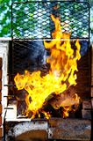 Barbecue Grill, Hot coal and Burning Flames. Grill flame. Barbecue Grill, Hot coal and Burning Flames stock image