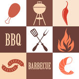 Barbecue Grill. Icon Set Stock Image