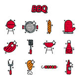 Barbecue and grill icon set. Thin line style, flat design Royalty Free Stock Images