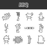 Barbecue and grill icon set. Thin line style, flat design Royalty Free Stock Image