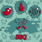 Barbecue and grill icon set. Thin line style, flat design Stock Photo