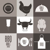 Barbecue Grill. Icon Set Royalty Free Stock Image
