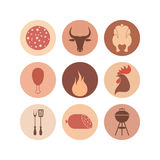 Barbecue grill. Icon set Royalty Free Stock Images