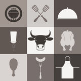 Barbecue grill. Icon set Royalty Free Stock Photography