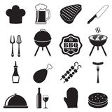 Barbecue grill icon set  on white background. BBQ symbols. Vector illustration. Restaurant design elements Royalty Free Stock Photography