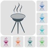 The barbecue icon. Barbecue grill icon. Vector illustration Stock Photos