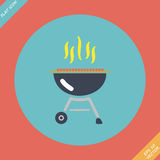 Barbecue grill icon - vector illustration. Flat Stock Photography