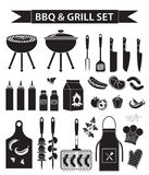 Barbecue and grill icons set, black silhouette, outline style. BBQ collection of objects, elements of design, logo. Isolated on white background. Vector Royalty Free Stock Images
