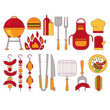 Barbecue Grill Icons Vector Illustratio Royalty Free Stock Images