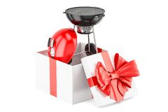 Barbecue grill inside gift box, gift concept. 3D rendering. On white background Royalty Free Stock Photo