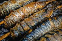 Barbecue, grill, kebab. Mackerel fish strung on wooden sticks and tied with string. royalty free stock photography