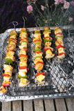 Barbecue grill and kebabs. Barbecue grill with vegetable kebabs Stock Photos