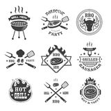 Barbecue and grill labels set. BBQ emblems and badges collection. Grill tongs forks. Spatulas roasted meat or sausage menu design elements. Vector illustration Stock Images