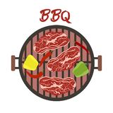 Barbecue grill with meat and vegetables. Vector. Vector illustration with round barbecue grill top view with meat and vegetables. BBQ party background. Design vector illustration