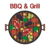 Barbecue grill with meat and vegetables. Vector. Vector. Vector illustration with round barbecue grill top view with meat and vegetables. BBQ party background vector illustration