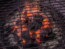 Barbecue grill with open flame Royalty Free Stock Images