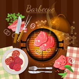 Barbecue grill party grilled meat top view. Vector illustration Stock Images