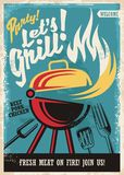 Barbecue grill party poster. Template. Retro poster design with grill appliance and grilled meat food on fire. Fast food advertisement Stock Photo