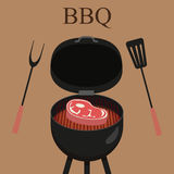 Barbecue grill party. Vector illustration with grill and steak Stock Images