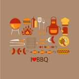 Barbecue grill party vector set. Flat style Stock Photography