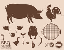 Barbecue grill. Pig. Chicken Stock Photography
