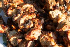 Barbecue on the grill. Ready-made pieces of meat on skewers stock image