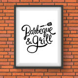 Barbecue and Grill Restaurant Sign on Brick Wall Stock Photo