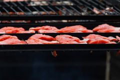 Barbecue Grill Salmon Stock Photo