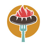 Barbecue or grill sausage ector icon. Barbecue or grill sausage logo template. Vector icon of bbq curry wurst on fork for picnic party or meat delicatessen store Royalty Free Stock Photography
