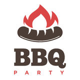 Barbecue or grill sausage logo template. Vector icon of bbq curry wurst on fork for picnic party or meat delicatessen store Royalty Free Stock Photography