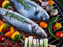 Barbecue grill with sea fishes. Stock Photography
