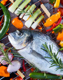 Barbecue grill with sea fishes. Stock Photos