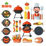 Barbecue, grill. Emblem, logo. Colorful vector illustration in f. Barbecue, grill. Set of colorful clip art. Cheerful cook with a chef`s shovel and fork, picnic Stock Image