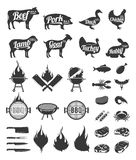 Barbecue, grill and steak house labels and design elements. BBQ, seafood, meat, farm animals and knives icons for cafe, bar and restaurant menu, branding and Stock Image