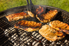 Barbecue Grill Steaks, Grilled meat on the Flamed BBQ. Stock Photography