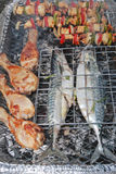 Barbecue grill with stuffed fish and meat Royalty Free Stock Images