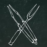 Barbecue Grill Tools Crossed Fork and Tongs. Isolated on a Black Chalkboard Background. Realistic Doodle Cartoon Style. Barbecue Grill Tools Crossed Fork and royalty free illustration