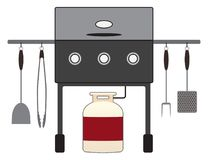 Barbecue Grill with Tools Stock Images