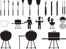 Barbecue grill and tools Royalty Free Stock Image