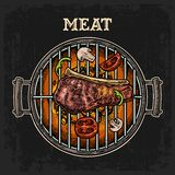 Barbecue grill top view with charcoal and beef steak. Barbecue grill top view with charcoal, mushroom, tomato, pepper, beef steak and shashlik. Lettered text Stock Images