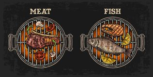 Barbecue grill top view with charcoal, fish and beef steak, mushroom, tomato, pepper, shashlik, lemon. vector illustration