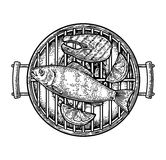 Barbecue grill top view with charcoal, fish steak and lemon Stock Photography