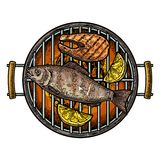 Barbecue grill top view with charcoal, fish steak and lemon Royalty Free Stock Images